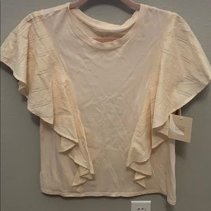 NWT cream colored top with ruffles